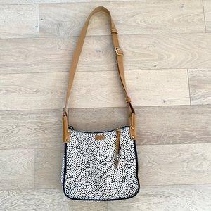 Fossil crossbody bag polka dot white black